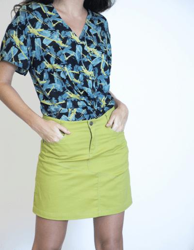 falda recta pardo verde